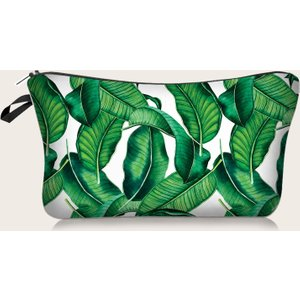 Shein 1pc Leaf Print Makeup Bag Green Sbmakeup18200715543 Clothing Accessories, Green