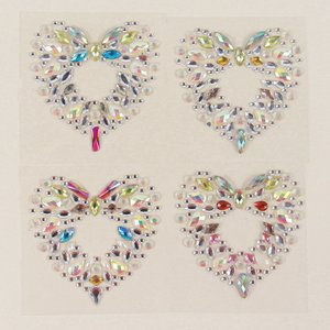 Shein 1sheet Random Color Water-drop Rhinestone Belly Tattoo Sticker Multicolor Sbtattoo18201113593 Clothing Accessories, Multicolor