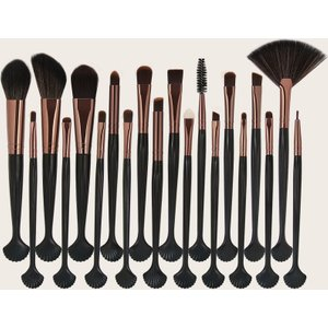 Shein 20pc Shell Design Handle Makeup Brush Black Sbbeauty18200514203 Clothing Accessories, Black
