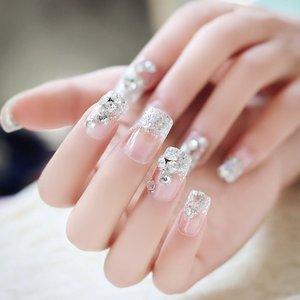 Shein 24pcs Glitter Transparent Fake Nail Silver Sbnailart03191221521 Clothing Accessories, Silver