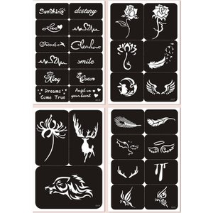 Shein 4sheets Flower Pattern Tattoo Sticker Black And White Sbtattoo18200908348 Clothing Accessories, Black and White