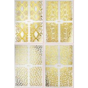 Shein 4sheets Leopard & Snakeskin Pattern Nail Art Sticker Gold Sbnailart18201217182 Clothing Accessories, Gold