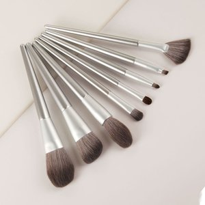 Shein 8pcs Soft Solid Makeup Brush Silver Sbbeauty18200604703 Clothing Accessories, Silver