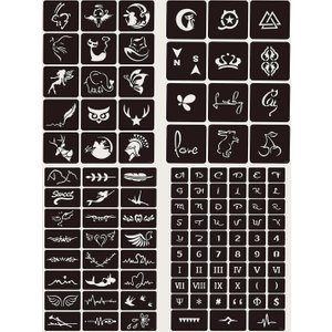 Shein Body Paint Tattoo Template 4sheets Black Swtattoo03190625785 Clothing Accessories, Black