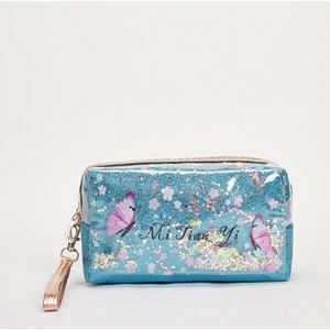 Shein Butterfly Pattern Glitter Makeup Bag Blue Sbmakeup13201216814 Clothing Accessories, Blue