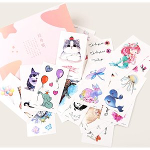 Shein Cat & Flower Pattern Tattoo Sticker 50sheets Multicolor Sbtattoo03190806688 Clothing Accessories, Multicolor