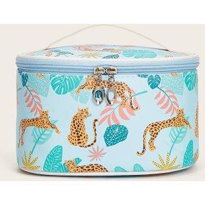 Shein Cheetah & Leaf Print Makeup Bag Multicolor Sbmakeup13201116452 Clothing Accessories, Multicolor