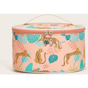 Shein Cheetah & Leaf Print Makeup Bag Multicolor Sbmakeup13201116057 Clothing Accessories, Multicolor