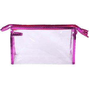 Shein Contrast Binding Clear Makeup Bag Hot Pink Sbmakeup24201113551 Clothing Accessories, Hot Pink