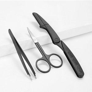 Shein Eyebrow Tweezers & Eyebrow Razor & Eyebrow Trimmer Scissors Set 3pcs Black Beauty180928607 Clothing Accessories, Black