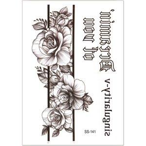 Shein Floral & Letter Graphic Tattoo Sticker Black Sbtattoo18200628107 Clothing Accessories, Black