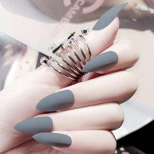 Shein Matte Stiletto Fake Nails 24pcs Grey Nailart180913604 Clothing Accessories, Grey
