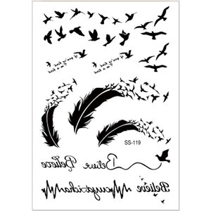 Shein Tribal & Animal Pattern Tattoo Sticker Black Sbtattoo03191223621 Clothing Accessories, Black