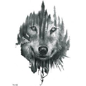 Shein Wolf Face Tattoo Sticker Black Tattoo180716826 Clothing Accessories, Black
