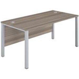 1600x600 Goal Post Rectangular Desk Grey Oak-silver