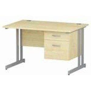 Impulse 1200 Rectangle Silver Cant Leg Desk Maple 1 X 2 - Mi002431