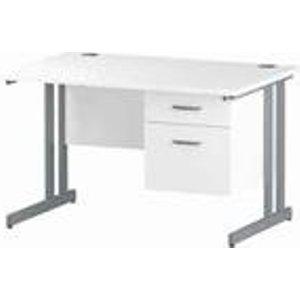 Impulse 1200 Rectangle Silver Cant Leg Desk White 1 X 2 - Mi002205