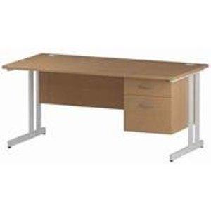 Impulse 1400 Rectangle White Cant Leg Desk Oak 1 X 2 - Mi002662