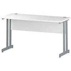 Impulse 1400/600 Rectangle Silver Cantilever Leg Desk White - Mi002197