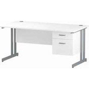 Impulse 1600 Rectangle Silver Cant Leg Desk White 1 X 2 - Mi002207