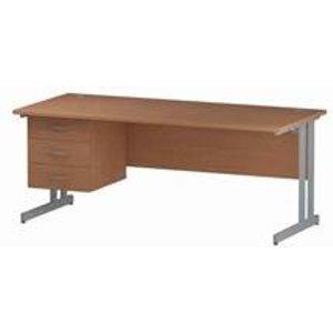 Impulse 1800 Rectangle Silver Cant Leg Desk Beech 1 X 3 - Mi001699