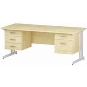 Impulse 1800 Rectangle White Cant Leg Desk Maple 1 X 2 - Mi002470