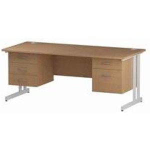 Impulse 1800 Rectangle White Cant Leg Desk Oak 1 X 2 - Mi002696