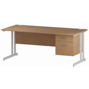 Impulse 1800 Rectangle White Cant Leg Desk Oak 1 X 2 - Mi002664