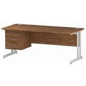 Impulse 1800 Rectangle White Cant Leg Desk Walnut 1 X 3 - Mi001934