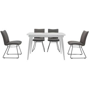 Furniture Village Ace Small Extending Dining Table And 4 Chairs - Grey, Grey