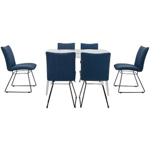 Furniture Village Ace Small Extending Dining Table And 6 Chairs - Blue, Blue