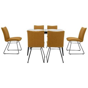 Furniture Village Ace Small Extending Dining Table And 6 Chairs - Yellow, Yellow