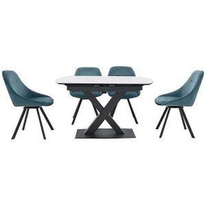 Furniture Village Arctic Extending Dining Table With White Top And 4 Swivel Chairs - Blue Zfrsp000000000041431