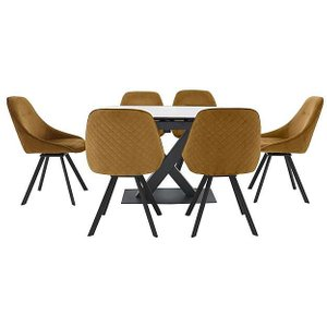 Furniture Village Arctic Extending Dining Table With White Top And 6 Swivel Chairs - Yellow Zfrsp000000000041445