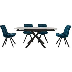 Furniture Village Diego Round Extending Dining Table And 4 Chairs - Teal, Teal