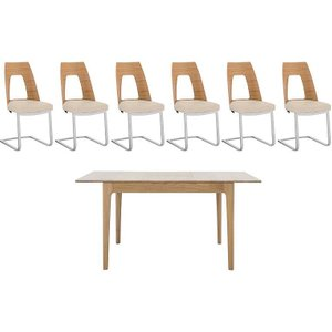 Ercol - Romana Small Extending Dining Table And 6 Cantilevered Dining Chairs - Brown Ronads4   001