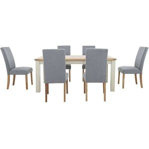 Furnitureland - Angeles Rectangular Extending Dining Table And 6 Fabric Dining Chairs