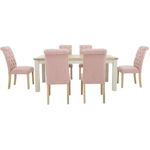 Furnitureland - Angeles Rectangular Extending Dining Table And 6 Button Back Dining Chairs, Pink