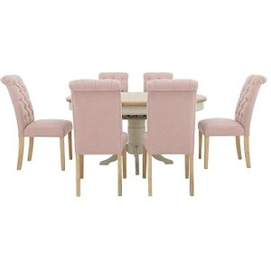 Furnitureland - Angeles Round Extending Dining Table And 6 Button Back Dining Chairs - Pin Zfrsp000000000033516