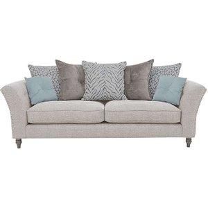 Furniture Village Glitz 4 Seater Scatter Back Studded Fabric Sofa - Cream, Cream