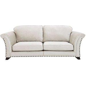 Furniture Village Holly 4 Seater Split Classic Back Fabric Sofa With Studs - Cream, Cream