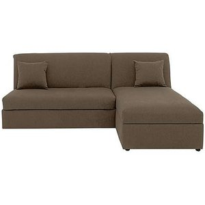 Furniture Village Versatile Small 2 Seater Fabric Chaise Sofa Bed No Arms - Mink