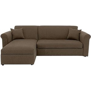 Furniture Village Versatile Small 2 Seater Fabric Chaise Sofa Bed With Scroll Arms - Mink