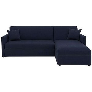 Furniture Village Versatile Small 2 Seater Fabric Chaise Sofa Bed With Storage With Slim Arms - Blue, Blue