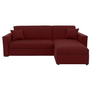 Furniture Village Versatile Small 2 Seater Fabric Chaise Sofa Bed With Storage With Box Arms - Red, Red
