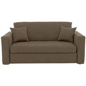 Furniture Village Versatile Small 2 Seater Fabric Sofa Bed With Box Arms - Mink