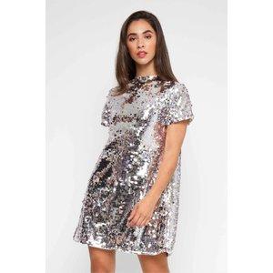Tfnc London Tfnc Tana Sequin Silver Tunic Dress 10217 Womens Clothing, Silver