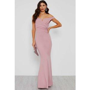 Tfnc London Walg Off Shoulder Pink Maxi Dress  8241 Womens Clothing