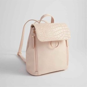 Trend Midi Faux-croc Backpack, Pale Pink, Cream 14502 212398417461, Pale Pink, Cream