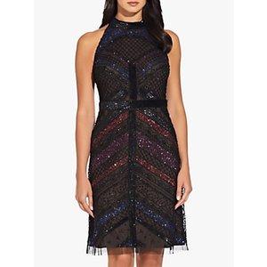 Adrianna Papell Beaded Halterneck Mini Dress, Black/multi